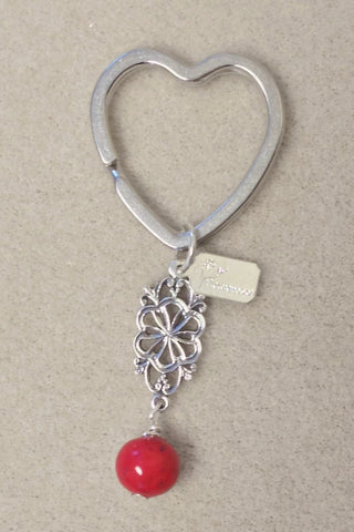 2HKC-E Heart Key Chain with 1 Flower Bead & Embellishment ~ Custom Order ~ Order Form Required