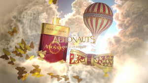 Fragrance Bottle and Bow Lipstick case in the clouds themed for the movie The Aeronauts.