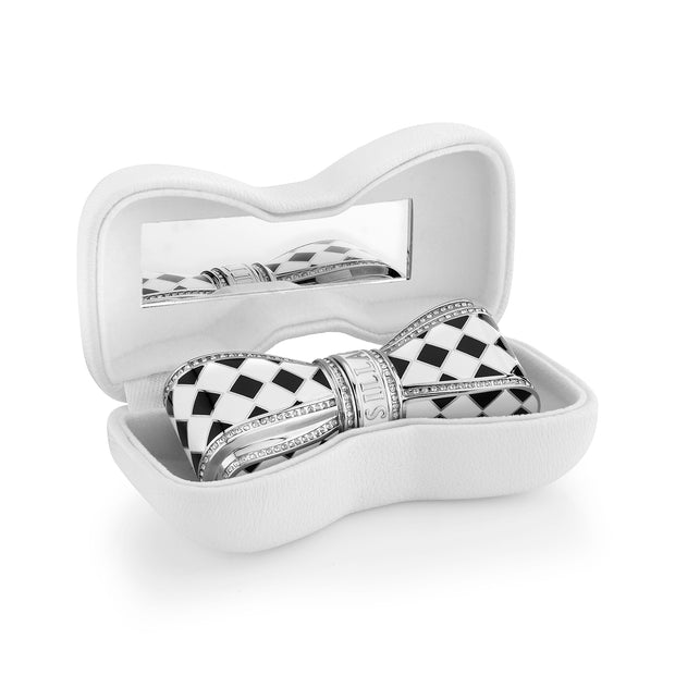 Bow Lipstick Case - Black & White Checkered