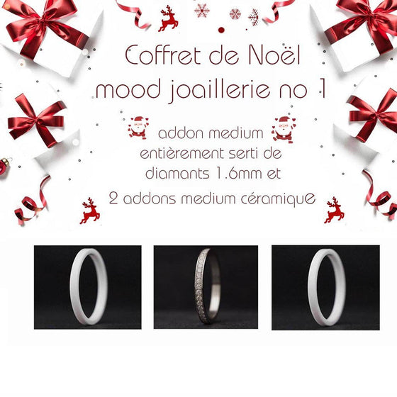 Coffret Noël : 1 addon medium entièrement serti de diamants 1.6mm + 2 addons medium céramique