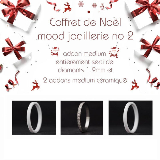 Coffret Noël : 1 addon medium entièrement serti de diamants 1.9mm + 2 addons medium céramique