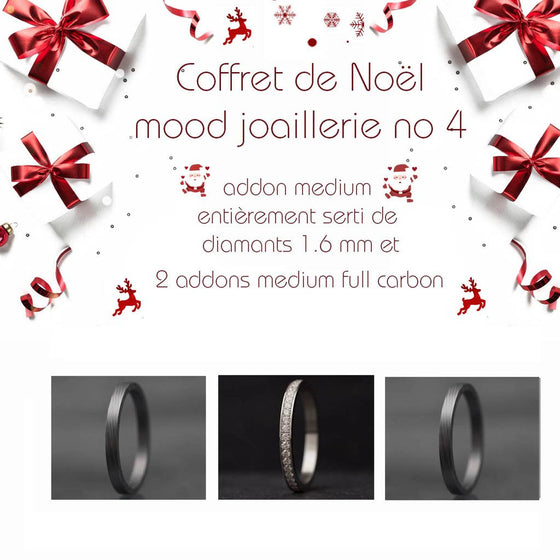 Coffret Noël : 1 addon medium entièrement serti de diamants 1.6mm + 2 addons medium full carbon