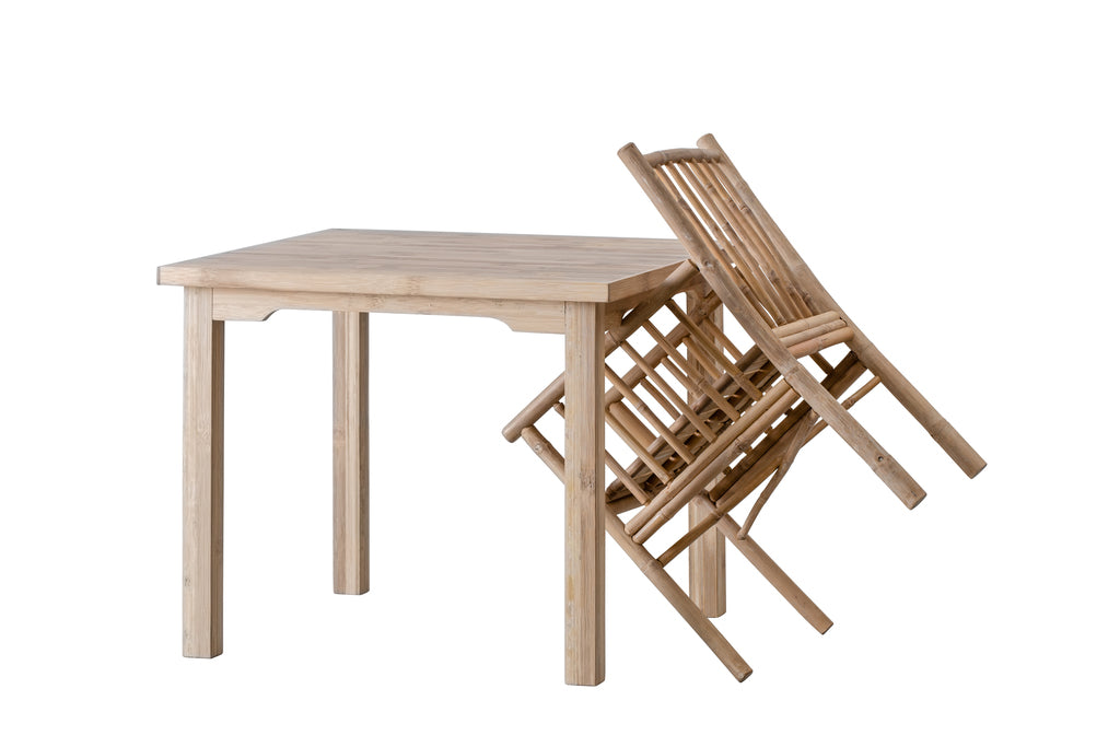 Set: 4 x Bamboo Dining chair + Dining table