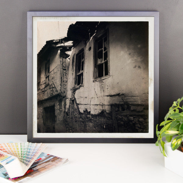 Ruined framed photo paper poster