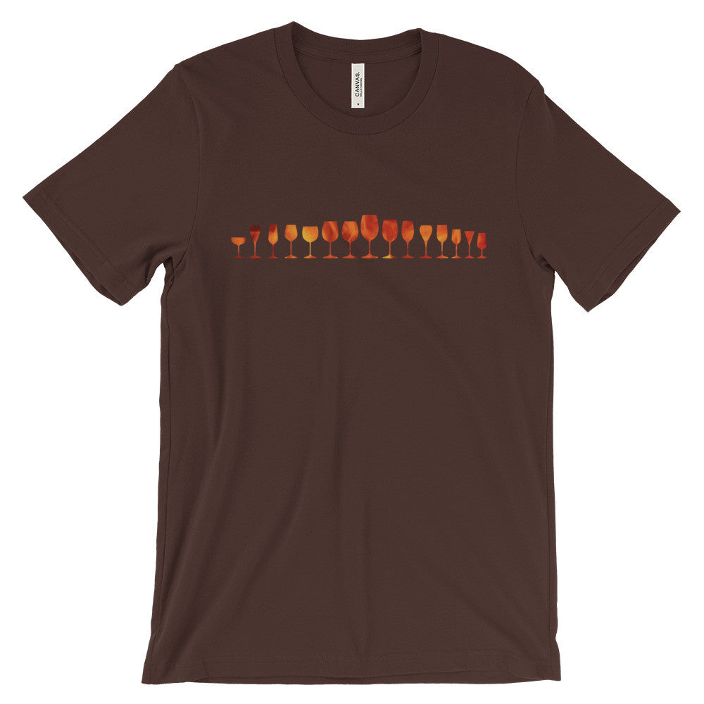Wine Glasses on Fire Unisex short sleeve t-shirt