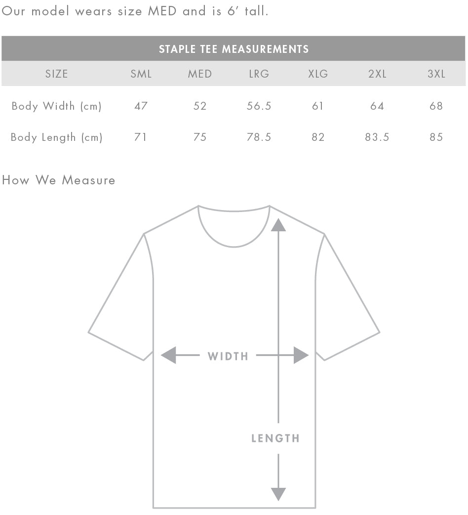 AS Colour Staple T-shirt Size Chart