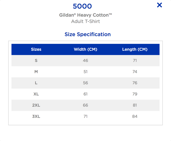 Gildan Heavy Cotton T-shirt Size Chart