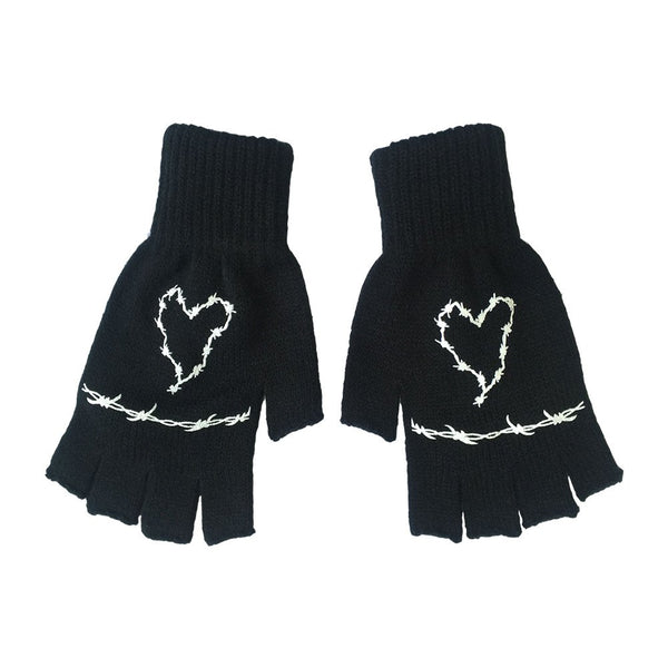 Frank Iero - Barbed Wire Fingerless Gloves (Black)