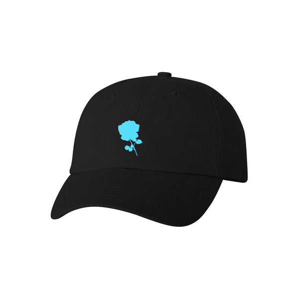 Blue Flower Dad Hat (black)