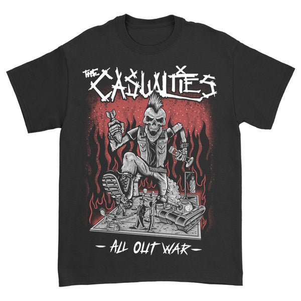 The Casualties - All Out War Tee (Black) front
