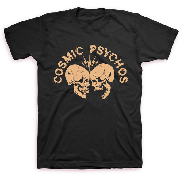 Cosmic Psychos - Clashing Skulls T-shirt (Black w/ Gold Bone Print)
