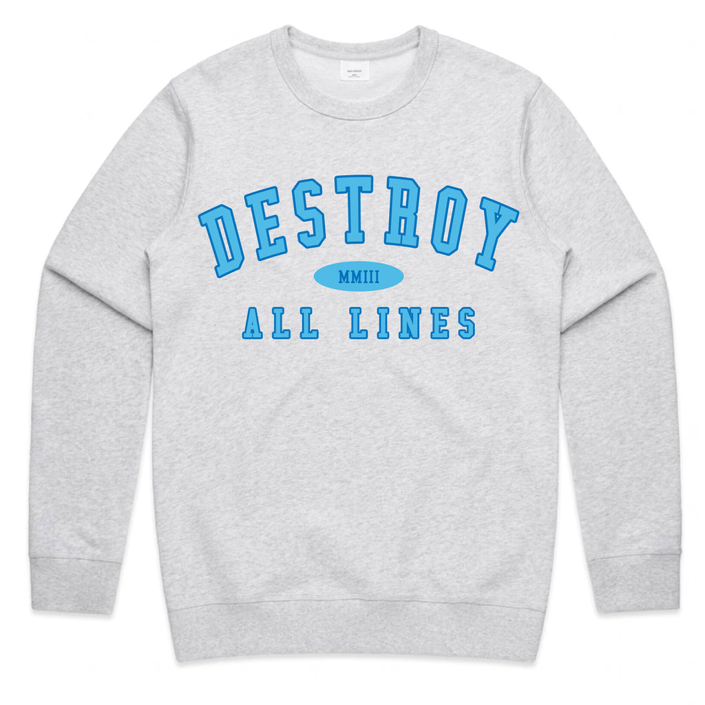 Destroy All Lines - College Crewneck (Grey)