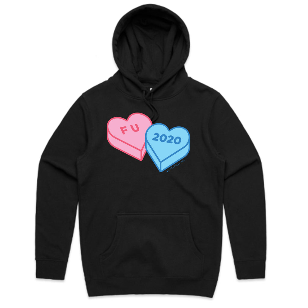 Destroy All Lines - F U 2020 Candy Hearts Hoodie (Black)