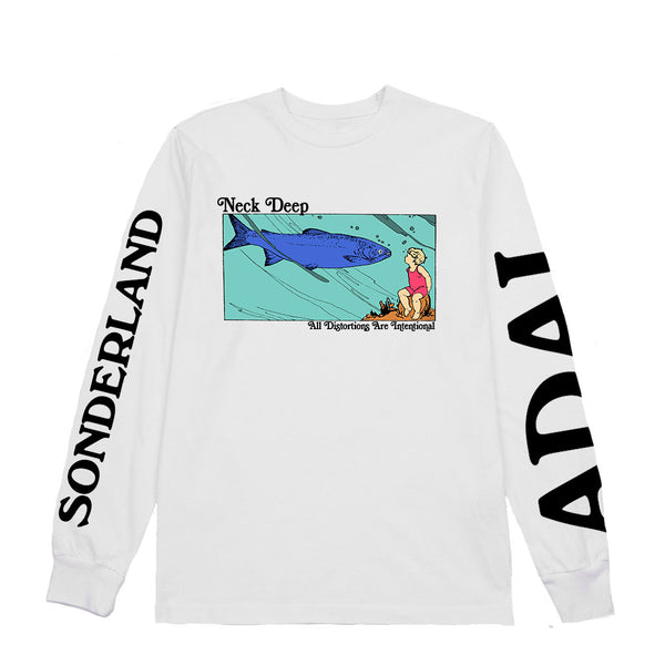 Neck Deep - Fish Long Sleeve (White)