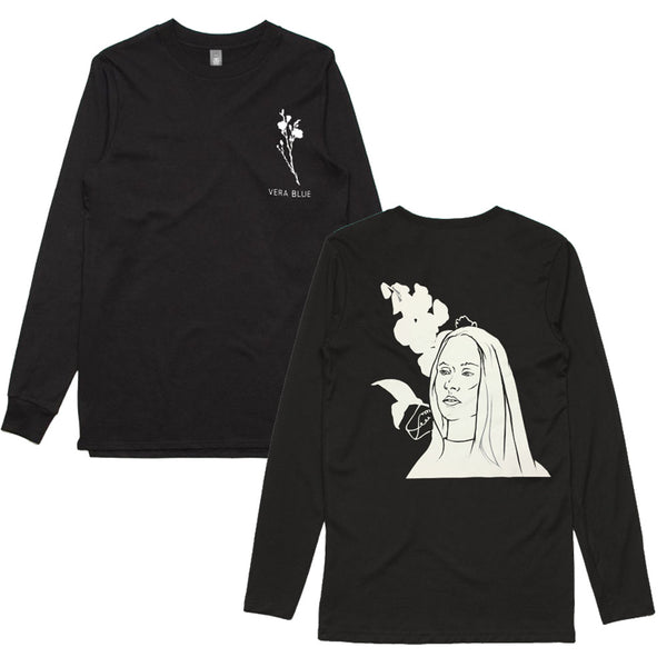 Vera Blue - Flowerface Longsleeve (Black) Front + Back