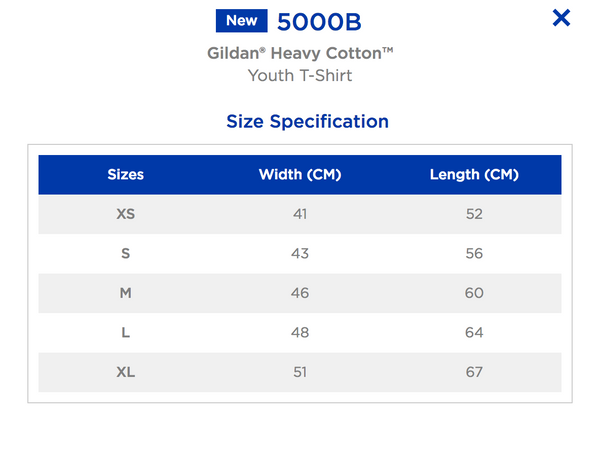 Gildan Softsytle Youth Tee Size Chart
