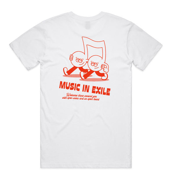 Music in Exile - Guests In Exile Tee (White) #1 feat. Steve Gavan - Red - Back