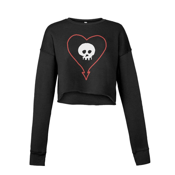 Alkaline Trio - Heart Skull Womens Crop Sweatshirt (Black)