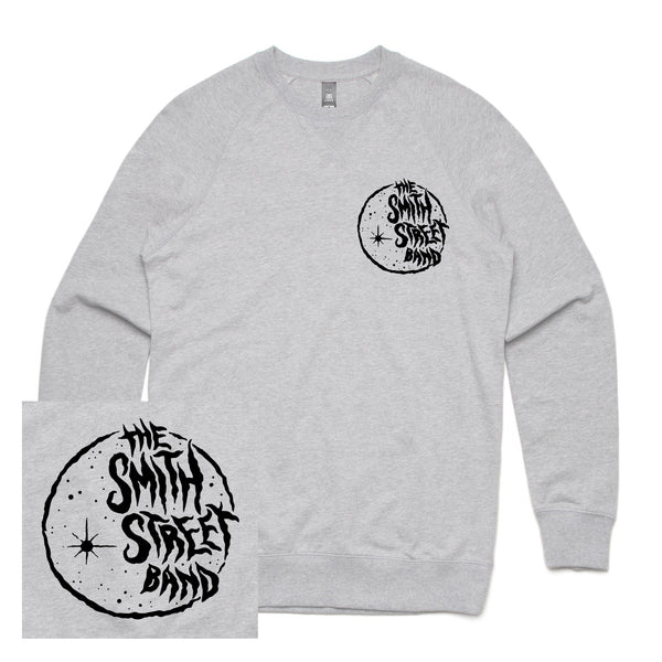 The Smith Street Band - Moon Logo Crewneck (Grey Marle) Front + Back