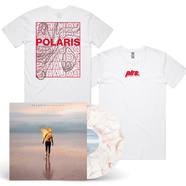 Polaris - The Death of Me LP (Milky Clear w/ Black and Red Smoke) + Landscape Tee (White)