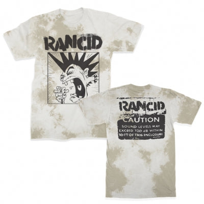 The Rancid Screaming Mohawk design, printed in discharge ink on a comfortable, standard-fitting, white dyed shirt.