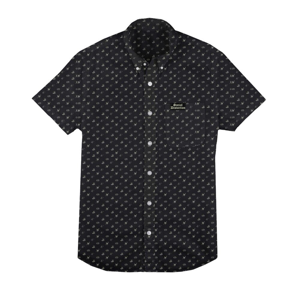 Social Distortion - Icons Button Down Collared Shirt (Black)