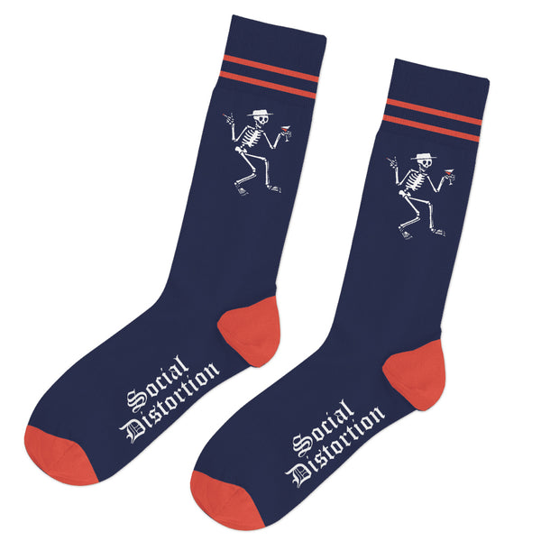 Social Distortion - Skelly Stripe Socks (Navy)