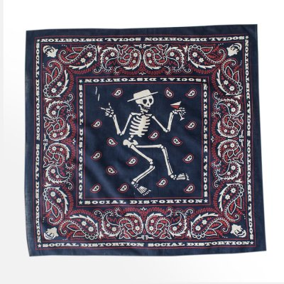 Social Distortion Navy/Red Skelly Paisley Bandana