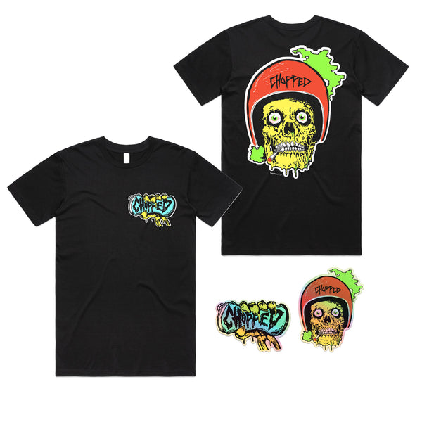 Chopped - Skull Guts Tee + Sticker Pack