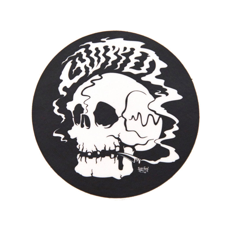 Chopped Smoking Skull Sticker