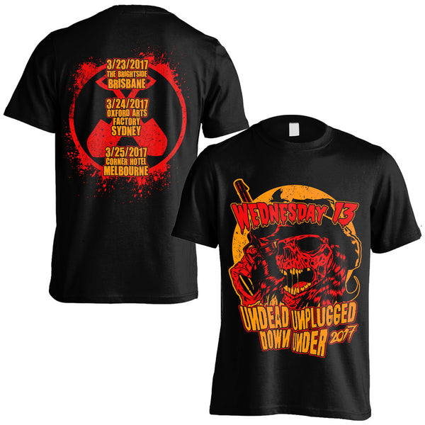 Wednesday 13 - Undead Unplugged Down Under Tour T-shirt (Black/Orange/Red)