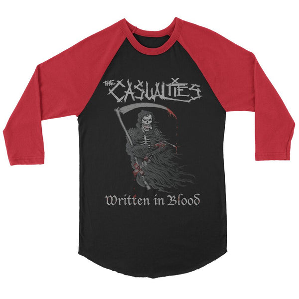 The Casualties - Written In Blood Raglan (Black/Red)