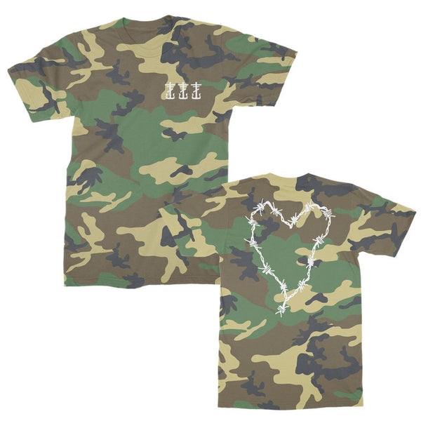 Frank Iero - Barbed Wire Heart & Cross T-Shirt (Camo)