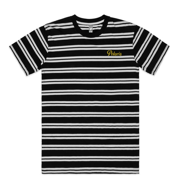 Polaris - Embroidered Logo Striped T-Shirt (White/Black)