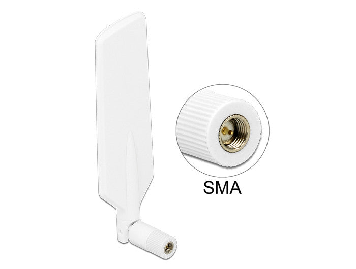 Delock LTE WLAN Dual Band Antenna SMA 1 ~ 4 dBi omnidirectional rotatable white - Optiwire.ie