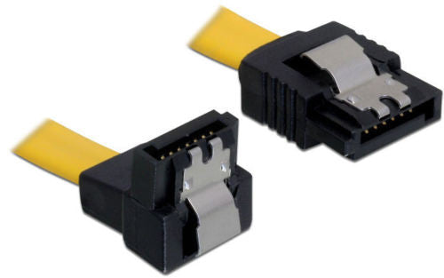 Delock Cable SATA 6 Gb/s male straight > SATA male angled down 30cm yellow metal - Optiwire