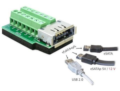 Terminal block 14 pin  adapter to eSATA pd + USB 2.0 A Female connector 5V & 12V - Optiwire - 1