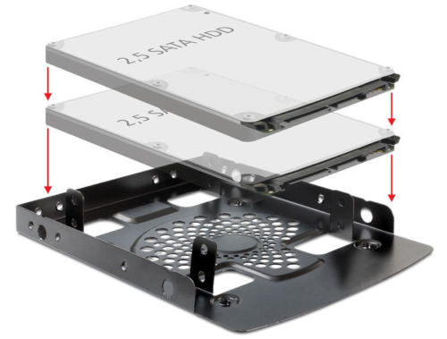 Delock Installation frame 3.5″ > 2 x 2.5″ HDD install 2x2.5″ instead of one 3.5″ - Optiwire.ie