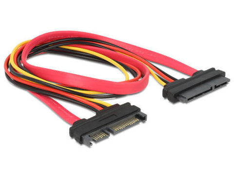 Delock SATA 22 pin Extension cable 50cm extend SATA power & data interface M - F - Optiwire