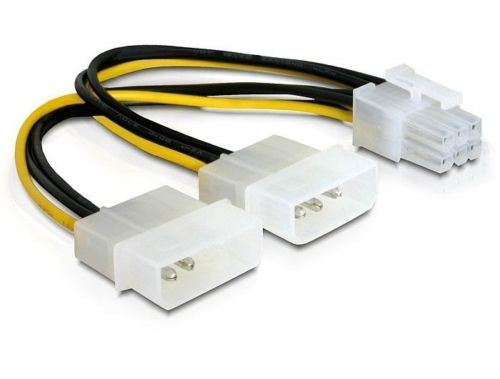 Y power cable for PCI Express card 2 x Molex 4pin Male > 6pin PCI Express 15cm - Optiwire - 1