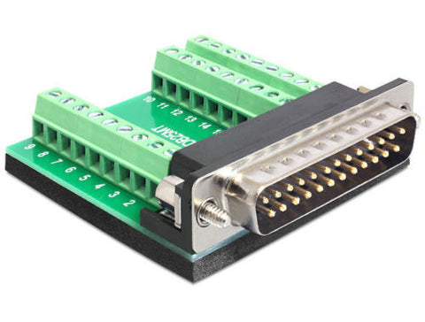 Delock Adapter Sub-D 25pin male with screws > Terminal Block 27pin Pitch 3.81 mm - Optiwire.ie
