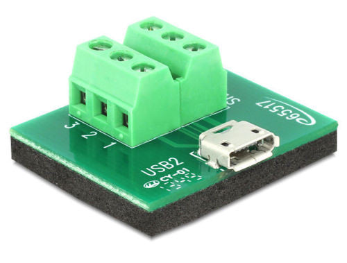 Delock Adapter Micro USB female > Terminal Block 6 pin antislip pad Pitch 3.81 - Optiwire.ie