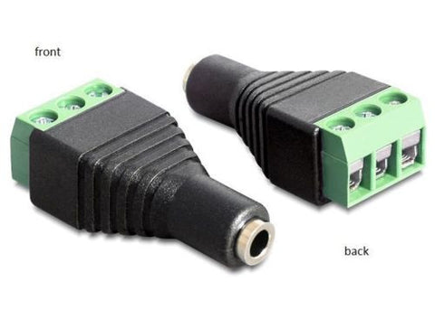 Delock Adapter Stereo jack female 3.5 mm > Terminal Block 3 pin Pitch 5.0 mm - Optiwire.ie