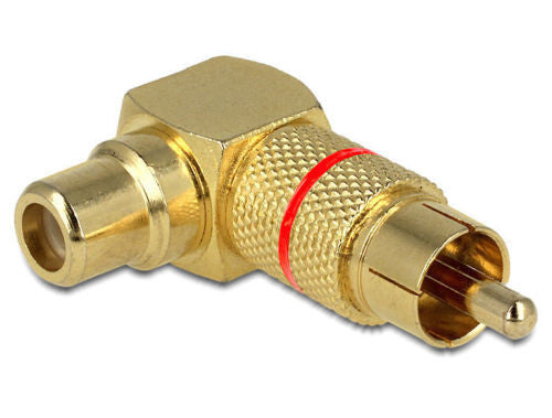 Angled adapter for difficult to access RCA socket Single RCA male > female @ 90° - Optiwire.ie