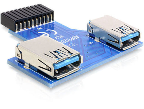 Delock USB 3.0 Pin Header female > 2 x USB 3.0 female – up, side by side - Optiwire