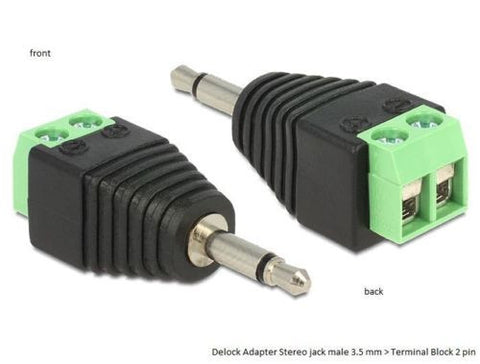 Delock Adapter Stereo jack male 3.5 mm > Terminal Block 2 pin Pitch 5.0 mm - Optiwire.ie