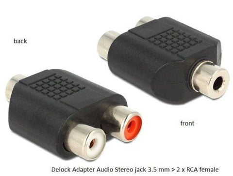 Delock Adapter Audio Stereo jack 3.5 mm 3 pin > 2 x RCA female (red/whte) black - Optiwire.ie