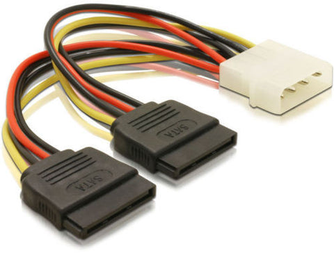 Delock Cable Power SATA HDD x 2 > 4pin male use ATX Molex to power 2 SATA drives - Optiwire.ie