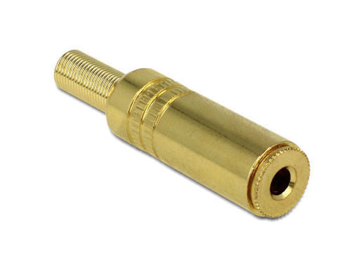 Delock metal 3.5 mm 3pin stereo jack female audio connector with bend protection - Optiwire.ie