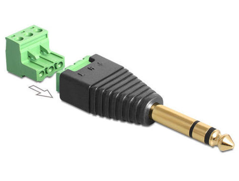 Delock Adapter Stereo jack male 6.35 mm > Terminal Block 3 pin removable 2-part - Optiwire.ie